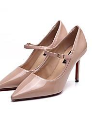 preiswerte -Damen Schuhe Beflockung Frühling Herbst Pumps High Heels Stöckelabsatz Spitze Zehe Schnalle für Hochzeit Party & Festivität Schwarz