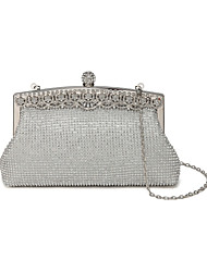cheap -Women's Bags Silk Evening Bag Crystals for Wedding / Event / Party Gold / Black / Silver