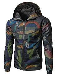 cheap -Men's Sports Punk & Gothic Jacket - Floral Print, Mesh Hooded
