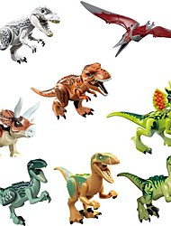 cheap -Original Jurassic World Tyrannosaurus Building Blocks Jurrassic Park Interlocking Blocks Dinosaur Animal Classic 8pcs Pieces Kid's Gift
