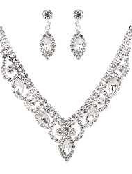 cheap -Women's Crystal Cubic Zirconia Rhinestone Pearl Imitation Diamond Jewelry Set 1 Necklace Earrings - Classic Vintage Elegant Drop Flower