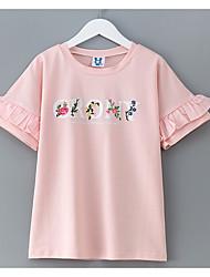 preiswerte -Mädchen Alltag Solide T-Shirt, Baumwolle Sommer Kurzarm Einfach Weiß Rosa
