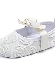 cheap -Girls' Shoes Fabric Spring & Summer First Walkers / Crib Shoes Flats Bowknot / Magic Tape for White / Black / Pink
