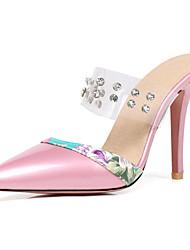 abordables -Femme Chaussures Cuir Verni Printemps / Eté Escarpin Basique Sabot & Mules Talon Aiguille Bout pointu Strass Rouge / Rose / Amande
