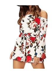 cheap -Women's Basic Romper - Floral High Waist Off Shoulder / Summer / Floral Patterns