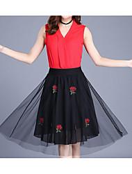 preiswerte -Damen A-Linie Röcke - Solide, Gitter Hohe Taillenlinie