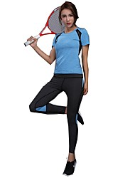 baratos -Mulheres activewear Set - Verde, Azul, Rosa claro Esportes Clássico Blusas Cooper Manga Curta Roupas Esportivas Vestível Com Stretch