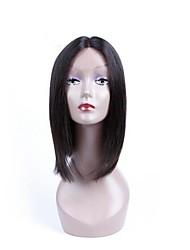 Недорогие -Синтетические кружевные передние парики Жен. Вытянутые Черный Стрижка каскад Искусственные волосы Природные волосы Черный Парик Средняя длина Лента спереди Черный