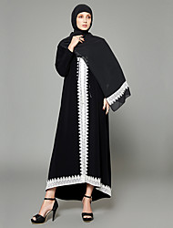 cheap -Women's Plus Size Going out Boho Puff Sleeve Chiffon Swing Abaya Dress - Color Block Patchwork High Waist Maxi V Neck