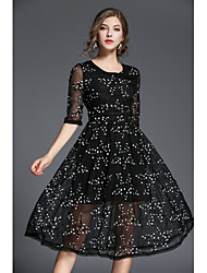 cheap -Women's Basic Lantern Sleeve Slim Sheath Little Black Dress - Floral Embroidered High Waist