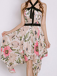 cheap -Women's Cute Butterfly Sleeve Chiffon Dress - Floral, Ruched