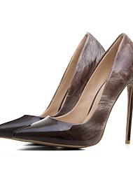 preiswerte -Damen Schuhe Lackleder Frühling Sommer Pumps High Heels Stöckelabsatz Spitze Zehe für Hochzeit Party & Festivität Schwarz Braun