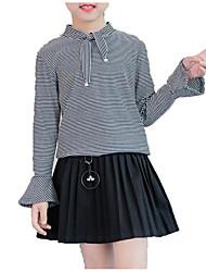 billiga -Flickor Dagligen Enfärgad Randig Skjorta, Bomull Polyester Vår Höst Långärmad Enkel Ledigt Vit Svart Marinblå