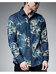 Недорогие -Муж. Плиссировка Рубашка Винтаж Цветочный принт