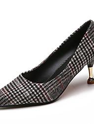 baratos -Mulheres Sapatos Couro Ecológico Primavera Verão Conforto Saltos Salto Sabrina Dedo Apontado para Preto Laranja Vermelho