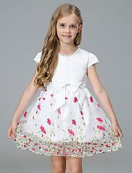 abordables -Robe Fille de Soirée Sortie Fleur Coton Polyester Printemps Automne Manches Courtes Mignon Actif Blanc