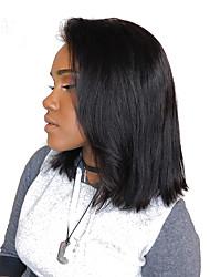Недорогие -Натуральные волосы Лента спереди Парик Бразильские волосы Прямой Парик 180% Плотность волос Жен. Парики из натуральных волос на кружевной основе SunnyQueen / Прямой силуэт