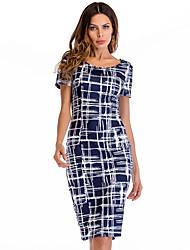 cheap -Women's Beach Vintage Basic Skinny Bodycon Sheath Dress - Geometric High Waist