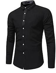 Недорогие -Муж. Чистый цвет Рубашка Тонкие Однотонный