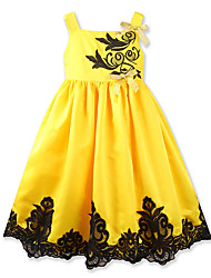 cheap -Girl's Party Daily Floral Patchwork Jacquard Dress, Cotton Polyester Summer Sleeveless Cute Casual Yellow