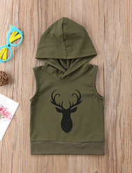 cheap -Unisex Daily Sports Solid Colored Hoodie & Sweatshirt, Cotton Spring Summer Sleeveless Active Street chic Brown Army Green