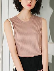baratos -Mulheres Camiseta Básico Estilo Clássico,Sólido