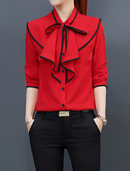 cheap -Women's Work Business Street chic Slim Blouse - Striped, Bow Shirt Collar