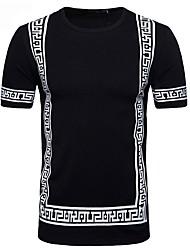 baratos -Homens Camiseta Temática Asiática Algodão Decote Redondo / Manga Curta