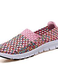 Недорогие -Жен. Обувь Ткань Весна / Лето Удобная обувь Мокасины и Свитер На плоской подошве Зеленый / Синий / Розовый