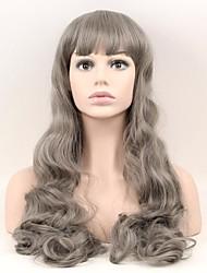 Недорогие -Парики из искусственных волос Естественные волны Природные волосы плотность Без шапочки-основы Жен. Серый Парик из натуральных волос