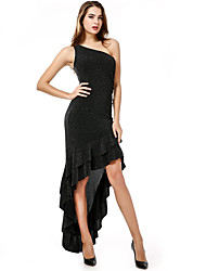 cheap -Women's Going out Sophisticated Slim Sheath Trumpet / Mermaid Dress - Solid Colored Black, Sequins Ruffle Pleated Asymmetrical Off