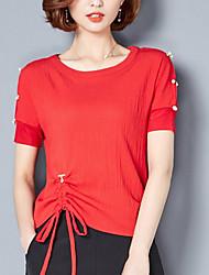 baratos -Mulheres Camiseta Básico Estilo Clássico, Sólido / Com Laço