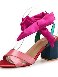 Недорогие -Жен. Обувь Шёлк Весна / Лето Удобная обувь Сандалии На толстом каблуке Цветы из сатина Цвет радуги / Для вечеринки / ужина