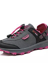 Mulheres Sapatos Couro Ecológico Primavera Outono Conforto Tênis Caminhada Sem Salto Ponta Redonda para Ao ar livre Roxo Cinzento Escuro