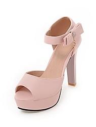Mulheres Sapatos Courino Materiais Customizados Verão Inovador Conforto Sandálias Salto Robusto Peep Toe para Casamento Escritório e