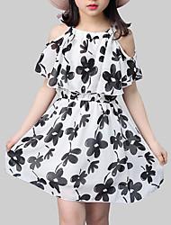 Недорогие -Дети Девочки Уличный стиль Цветочный принт С принтом С короткими рукавами Платье