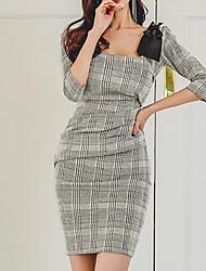女性用 ボディコン ドレス - プリーツ, ソリッド