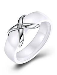 Недорогие -Жен. Кольцо Белый Китай Стерлинговое серебро S925 Геометрической формы Классика Винтаж Повседневные Офис Бижутерия