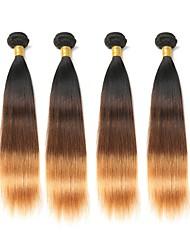 Недорогие -4 Связки Бразильские волосы Прямой 8A Натуральные волосы Омбре 12-28 дюймовый Омбре Ткет человеческих волос Расширения человеческих волос / Прямой силуэт