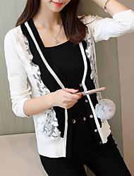 economico -Per donna Essenziale Manica lunga Cardigan Monocolore A V