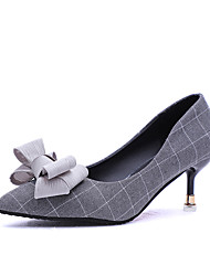 cheap -Women's Shoes PU Summer Comfort Heels Walking Shoes Stiletto Heel Round Toe Hollow-out for Casual Black Gray Blue