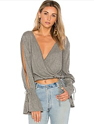 cheap -Women's Club Sexy Loose T-shirt - Solid Colored, Basic Off Shoulder Deep V