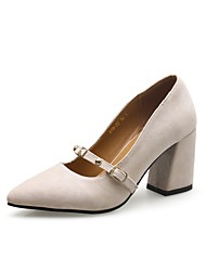 cheap -Women's Shoes Nubuck leather Spring / Fall Basic Pump Heels Chunky Heel Pointed Toe Rivet Beige / Red / Pink
