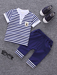 cheap -Boys' Daily Striped Clothing Set, Cotton Summer Short Sleeves Active Red Navy Blue