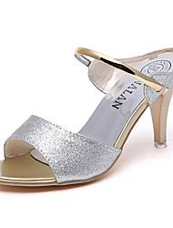 cheap -Women's Shoes PU Spring Summer Comfort Sandals Stiletto Heel Peep Toe Sequin for Casual Dress Gold Black Silver