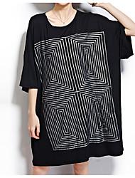 baratos -Mulheres Básico Camiseta Vestido - Estampado, Geométrica Acima do Joelho