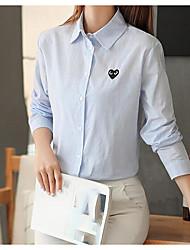 cheap -Women's Cute Cotton Loose Shirt - Striped Shirt Collar