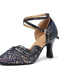 Недорогие -Жен. Обувь для модерна Лак / Дерматин Сандалии / На каблуках Каблуки на заказ Персонализируемая Танцевальная обувь Черный