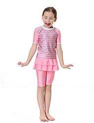 abordables -Fille Bohème Couleur Pleine Maillots de Bain, Polyester Nylon Spandex Manches courtes Rose Claire Bleu clair
