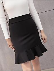 Žene Bodycon Suknje - Jednobojni, Nabori Kolaž